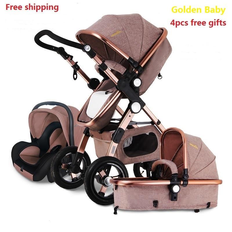 Бесплатная доставка Детские коляски выше Land пейзаж Золотой 3 в 1 Портативный складной коляски 2 в 1 Роскошные перевозки