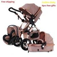 Бесплатная доставка детская коляска Higher Land scape Golden baby 3 в 1 переносная складная Коляска 2 в 1 Роскошная коляска