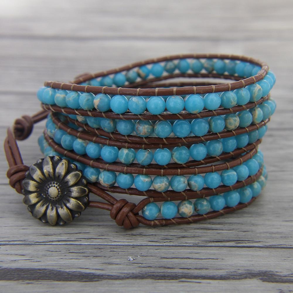Ocean Blue bead wrap bracelet bohemian bead leather bracelet BOHO bead bracelet Gypsy Leather wrap Jewelry black agate bead bracelet 17cm