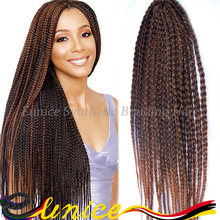 New and popular 3x box braid crochet hair braids synthetic hair extensions with free gift for beautiful customer