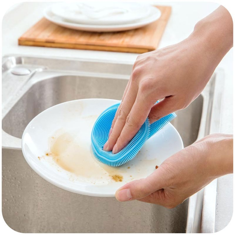 Platos De Silicona multiuso Cepillo de Lavado Scrubber Pad Taza Estera A Prueba
