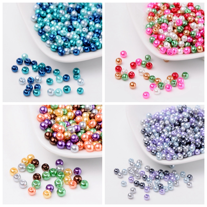 4mm 6mm 8mm Hot Mix Pearlized Glass Pearl Loose Jewelry Making DIY Bijoux Accessories Findings Ball Beads for Bracelet Necklace(China)