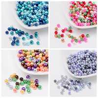 4mm 6mm 8mm Mix Pearlized Glass Pearl Loose Beads Jewelry Making DIY Bijoux Accessories Findings Ball Bead for Bracelet Necklace