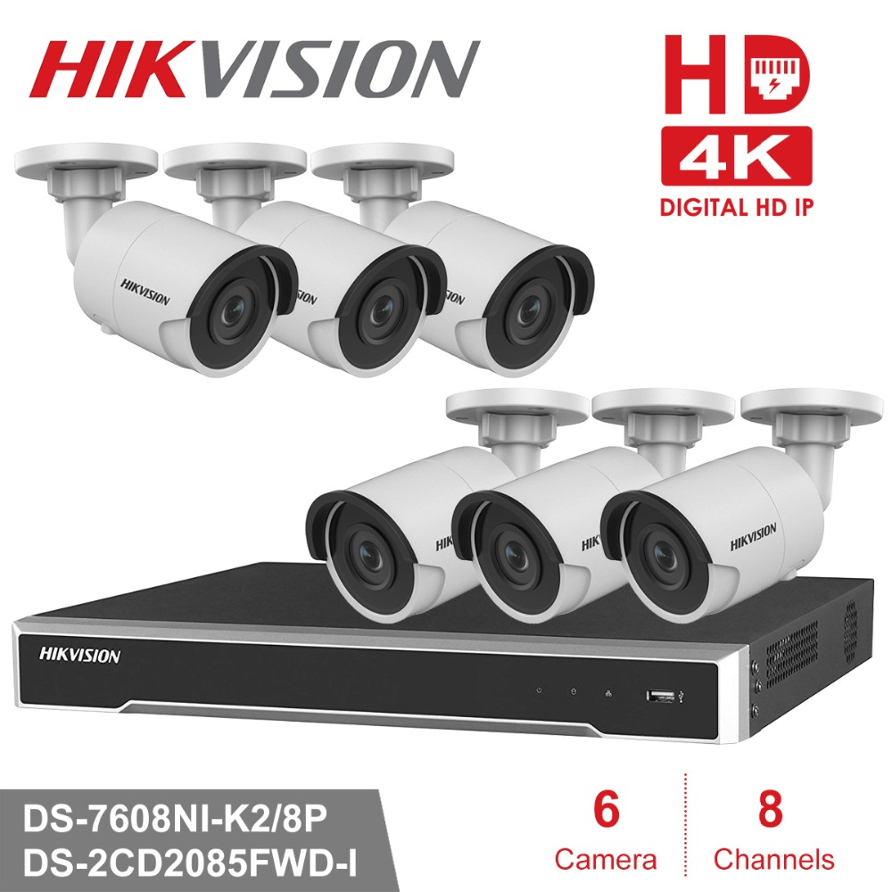 Hikvion 8CH 1080P POE NVR Kit CCTV Camera System 8MP Outdoor Security IP Camera P2P Video