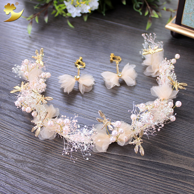 2017 estilo Coreano hairband tocado de novia de la boda aretes ensambles diadema