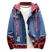 New men fashion plaid denim jacket Hot Sale Autumn Winter Casual Vintage Design Wash Distressed Top Blouse High Quality Coat