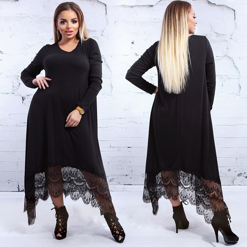 2XL-6XL Large Size Robe 2019 Spring Summer Dress Big Size Elegance Lace Dress Women Dresses Plus Size Women Clothing Vestidos