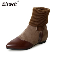 ESWELT Women Winter Plush Ankle Boots Female Platform Shoes Flats Women Fashion Mixed Color Graffiti Boots