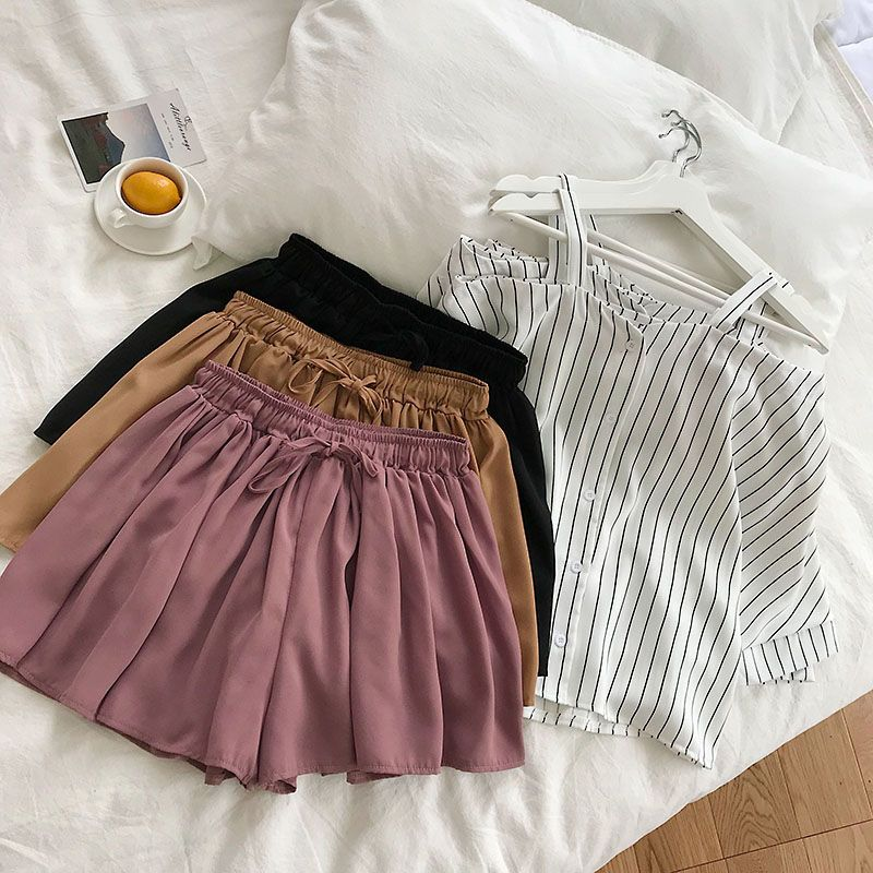 HTB1 eP3eYus3KVjSZKbq6xqkFXac - new fashion women's two piece set Fresh striped off-the-shoulder loose blosue top + elastic waist shorts suit