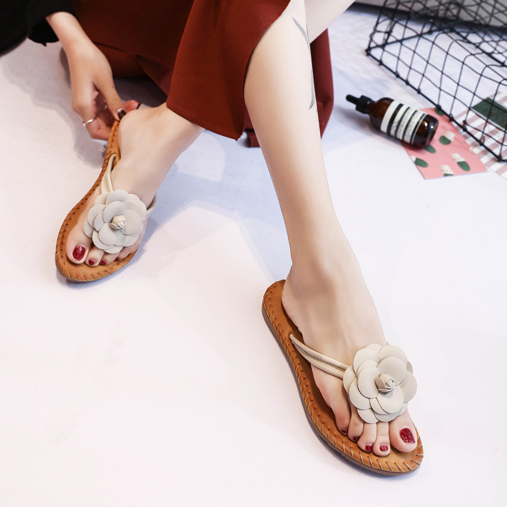 32cbcde3f Women Fashion Solid Color Flower Flat Heel Sandals Slipper Beach Shoes-in  Slippers from Shoes on Aliexpress.com
