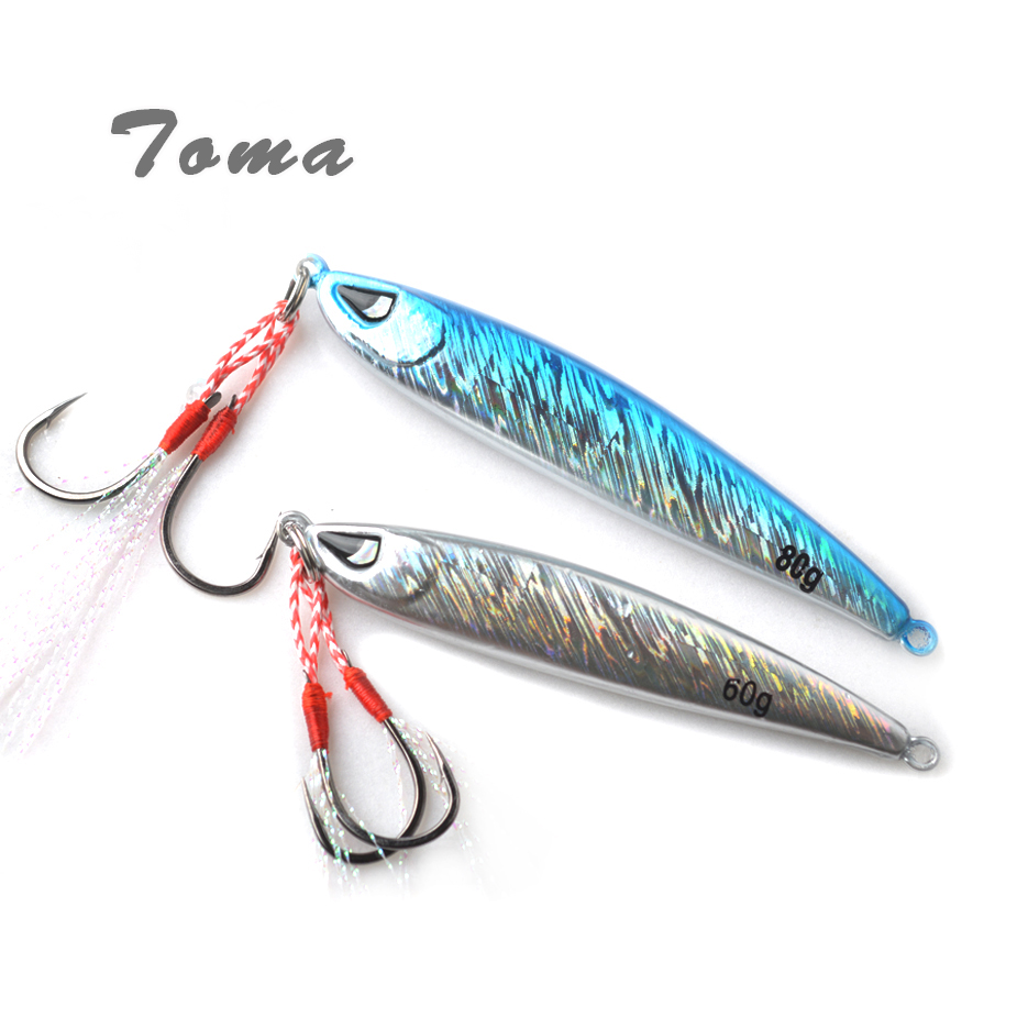 TOMA 2PCS/Lot Metal Jigging Fishing Lure 60g 80g Jig Hard Bait Sinking Spoon Double Fishing Hooks Saltwater Boat Fishing fishing lure 4 9g 7 2g metal jig spoon lure spinner metal jigging shore cast iron artificial hard bait fishing accessories pesca