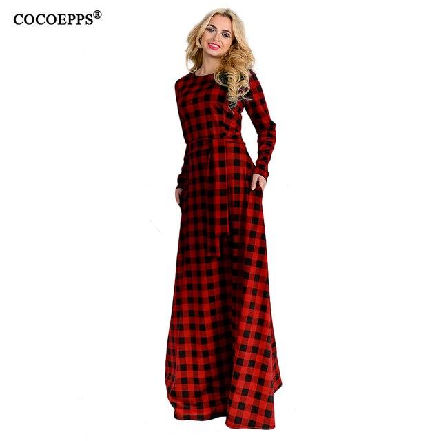 2017 длинное платье осень Винтаж плюс Размеры Платья для женщин модное красное платье в клетку с круглым вырезом vestidos большой Размеры Вечеринка Платья для женщин