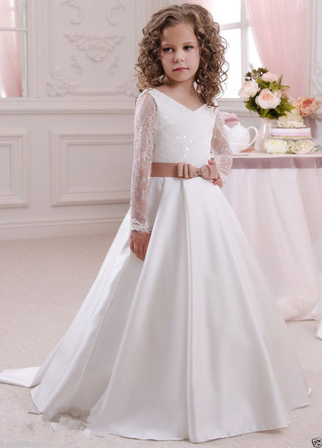 1de0e6c5989f 2016 White Bow Pageant Dresses First Communion Dresses For Girls Party Prom  Princess Pageant long Sleeve