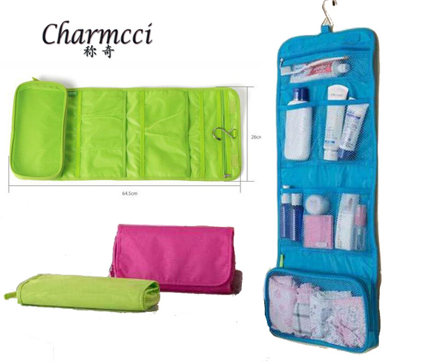 Charmcci long womens toiletry bag flat sporst roll up travel hanging men toiletry  bag large hook aaafa7cfcee87