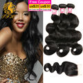 3 pacotes malaio onda do corpo virgem cabelo weave closures natural black queen hair products com pacote fechamento lace closure