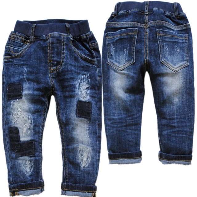 6040 patch baby jeans boys denim jeans BOYS casual pants navy blue  spring  autumn kids  trousers baby fashion  nice new