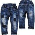 6040 remendo do bebê jeans meninos denim calças de brim MENINOS calça casual azul marinho primavera outono crianças calças do bebê moda novo agradável
