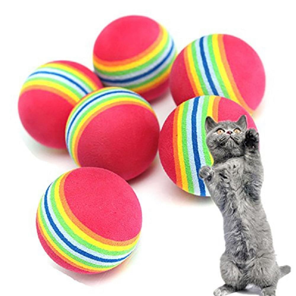 Agressief Oloey Grappig Huisdier Speelgoed Baby Hond Kat Speelgoed 3.5 Cm Rainbow Kleurrijke Play Ballen Voor Huisdieren Producten Leuk Speelgoed Wil Je Wat Chinese Inheemse Producten Kopen?