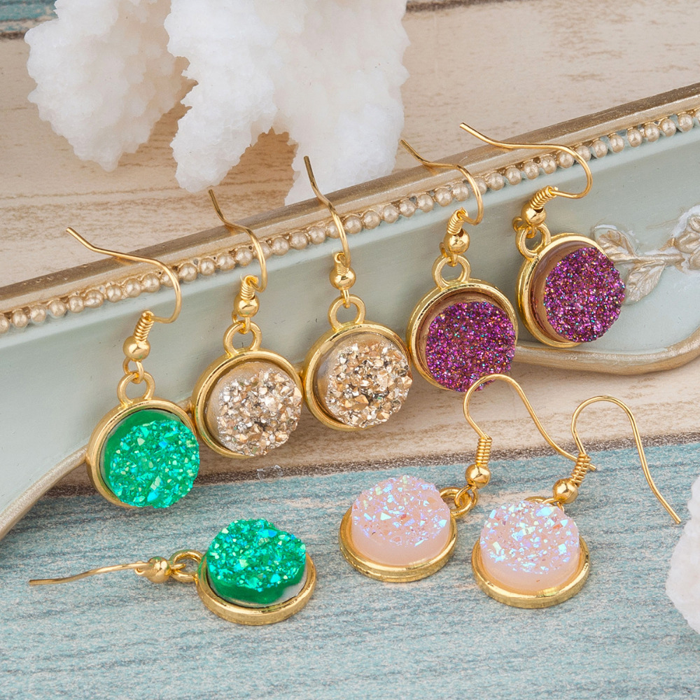 "DoreenBeads Handmade Resin Druzy /Drusy Earrings gold color & gold color Pink Purple Round 34mm(1 3/8"") x 15mm( 5/8""), 1 Pair"
