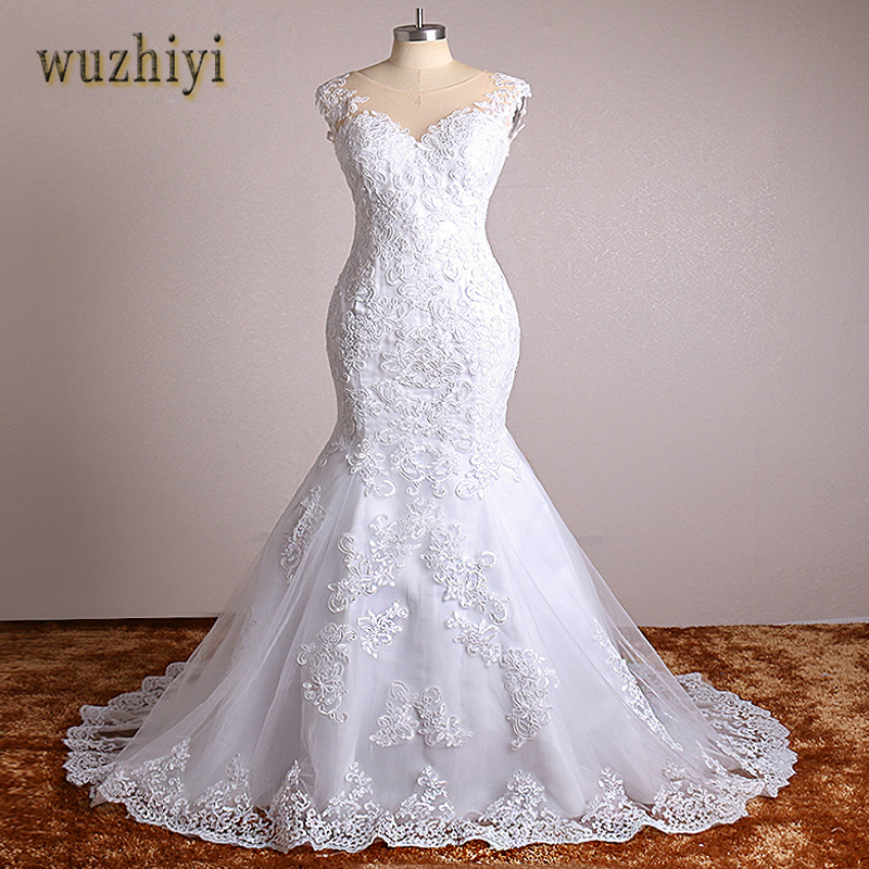 wuzhiyi Mermaid wedding dress Lace Appliques Vintage wedding gowns Plus size China Bridal Gown for wedding