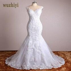 Wuzhiyi sereia vestido de casamento rendas apliques vestidos de casamento do vintage plus size china vestido de noiva para casamento noiva 2018