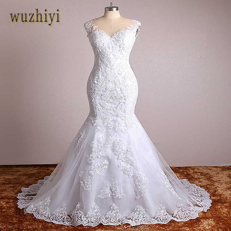 Wuzhiyi בת ים חתונת שמלת תחרה אפליקציות בציר שמלות כלה בתוספת גודל סין כלה שמלת vestido דה noiva 2018