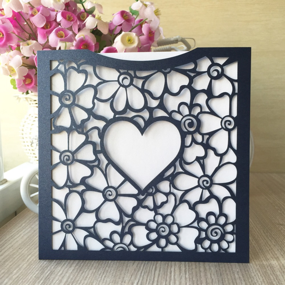 Brides Wedding Invitation Kit: 35pcs Pocket Laser Cut Heart Wedding Invitations Cards