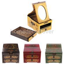 Cómoda de madera Retro Vintage cajón con espejo pecho con espejo para almacenamiento de joyas caja de maquillaje cosméticos diversos contenedores