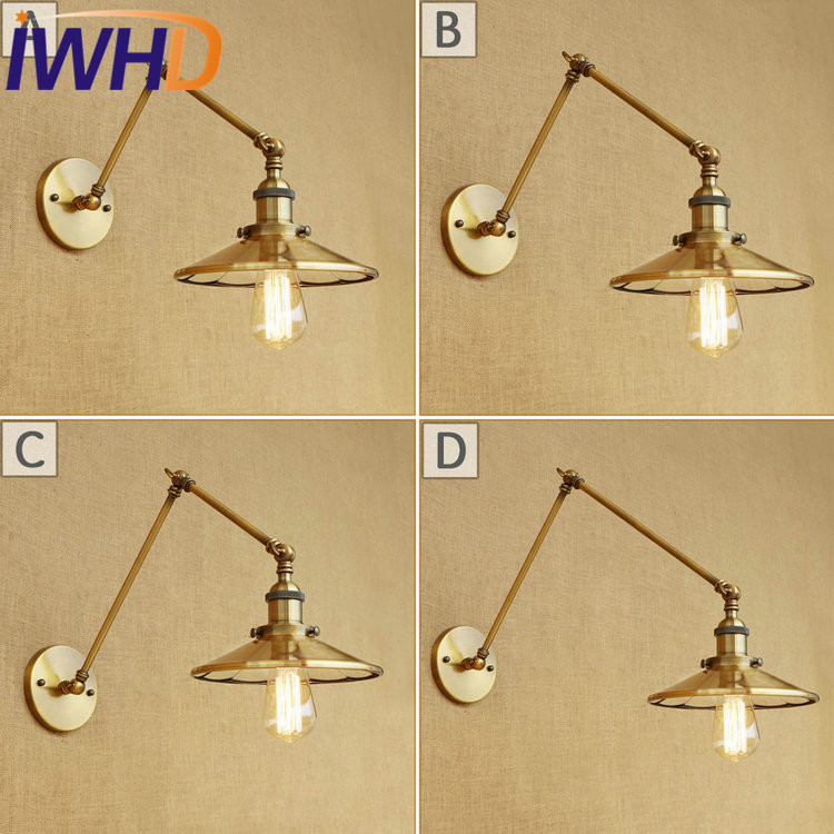 IWHD Loft Style Swing Arm Edison Wall Sconce Mirror Glass Iron Wall Lamp Industrial Vintage Wall Light Fixtures Indoor Lighting недорого