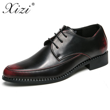 XIZI Men PU leather brand shoes commercial real leather male shoes fashion wedding shoes breathable pointed casual shoes flats