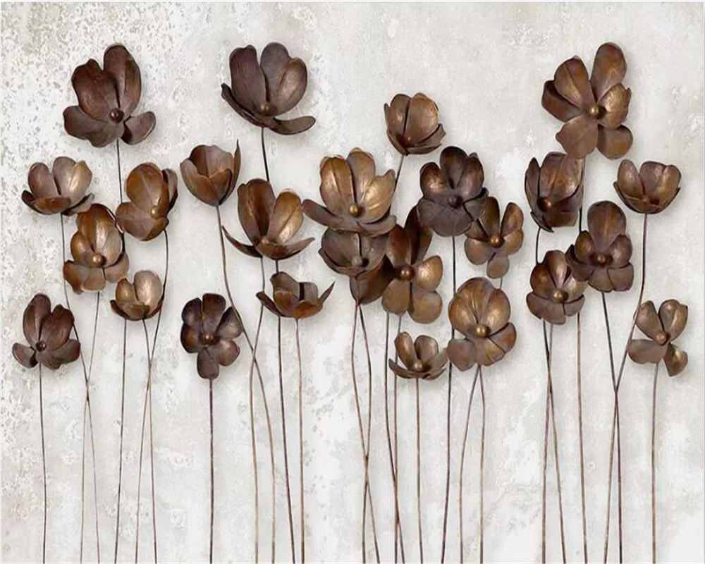 Купить с кэшбэком Beibehang papel de parede wallpaper for walls 3 d Custom wallpaper iron flower retro modern minimalist TV background wall paper