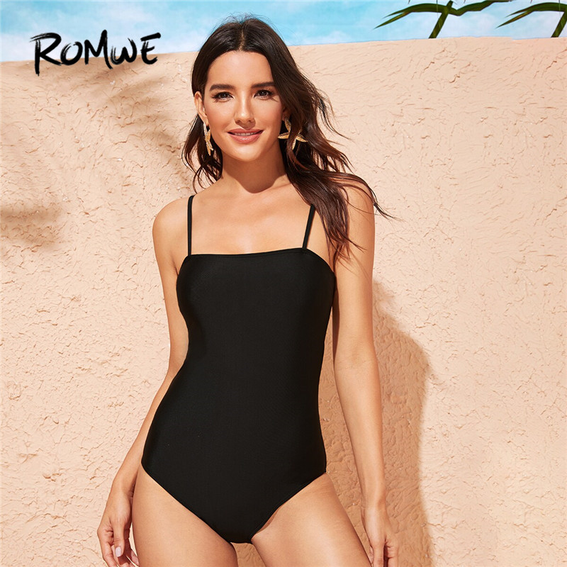 Romwe One-Piece Swimsuit Monokini Black Sport Women Solid Spaghetti-Strap Sexy Stretchy