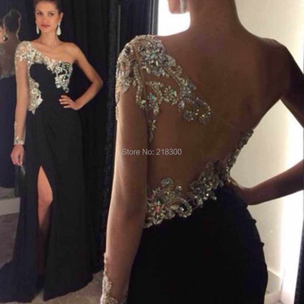 66665747330ae Aliexpress.com : Buy Sparkly prom dresses long sleeve black pageant ...