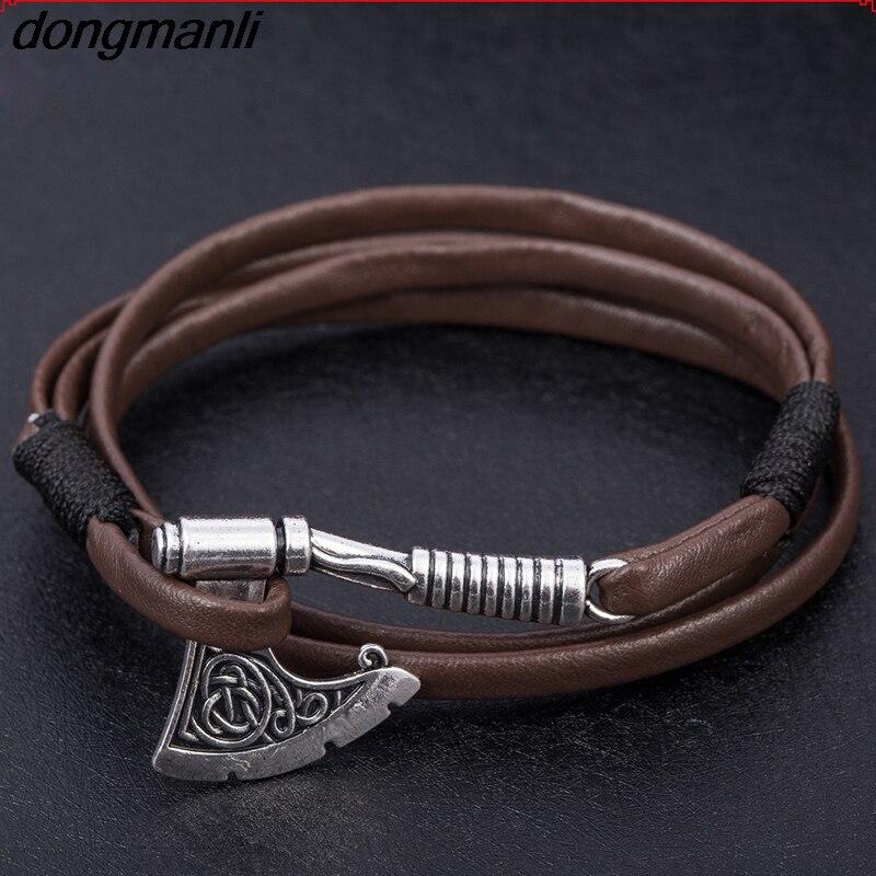 859426bbb39a P410 dongmanli Joyas para hombres Axe Wrap Ancla Pulsera vikinga Accesorios  de cuero para hombres Pulseras brazalete perlav Slavonic