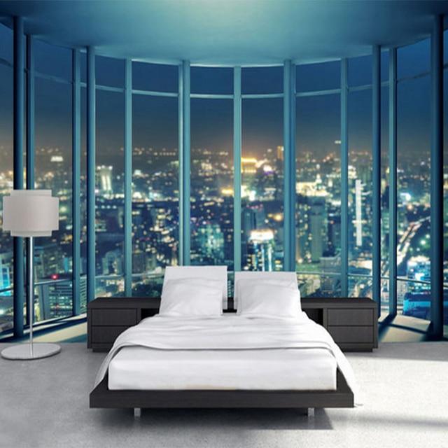 3D Wallpaper Bay Window Bustling Night City Landscape Mural Living Room Bedroom Modern Fashion Interior Backdrop