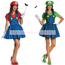 Game Super Mario Luigi Brothers Fancy Look Party Costume Carnival Halloween Costume for Women Adult Full set 5 pieces allinclude