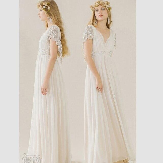 2017 Summer Boho Wedding Dresses White Short Sleeve Beaded Bridal Gowns For Party Elegant V Neck
