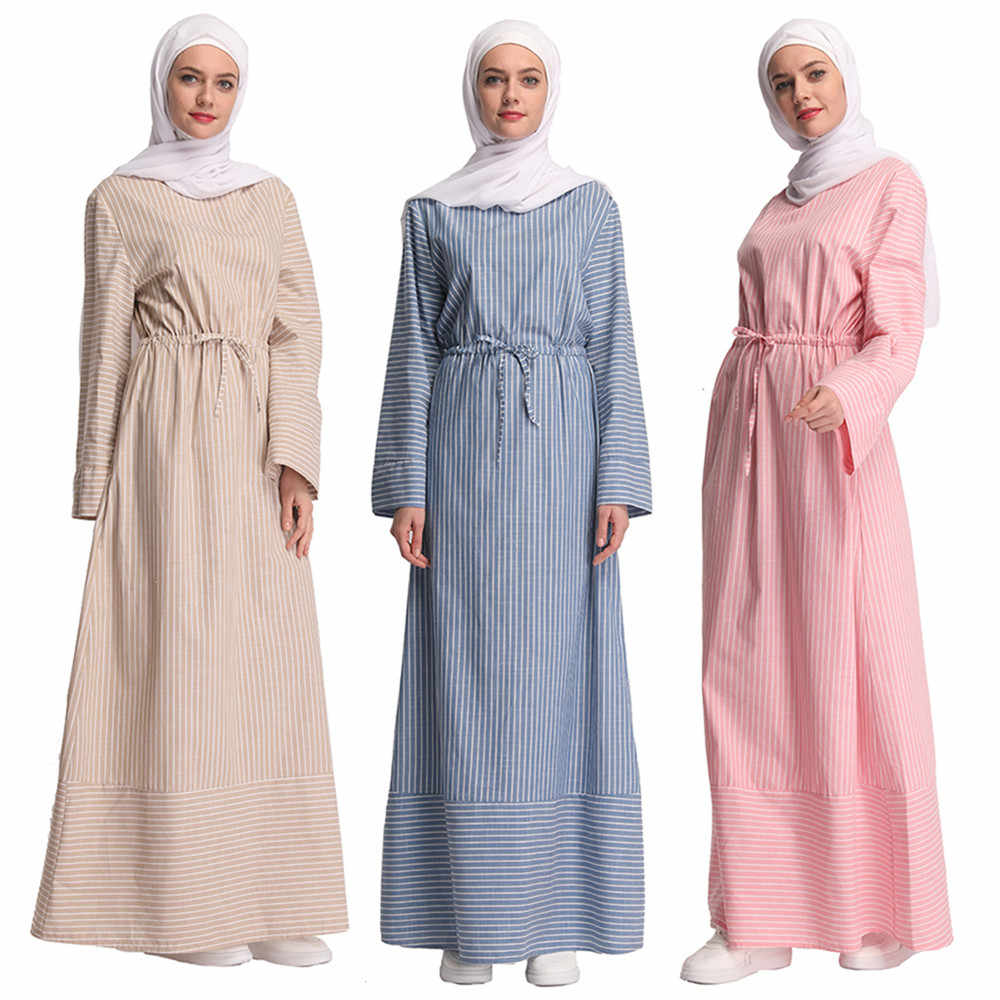 cbba078280b8a Marocain Striped Dress Islamic Clothing Ramadan Abaya Dubai Turkish ...