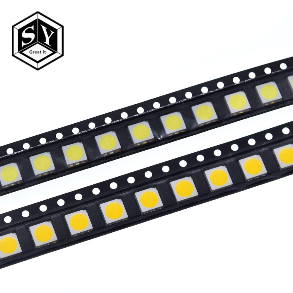 100PCS 5050 LED White LEDs High-Brightness Diodo Azul Luz 6500K SMD Light-emitting Diodes SMD 5050 White Light Diodo 18lm 4.9 16