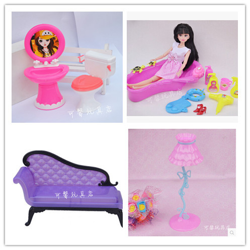 Free Delivery,doll furnishings Desk lamp+Couch+Wash Basin +Closestool+Bathtub11set doll equipment for Barbie Doll,lady play home