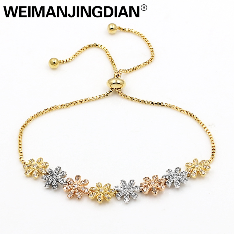WEIMANJINGDIAN Brand Micro Pave Setting Cubic Zirconia Crystal Flower Bracelets with Adjustable Slide Lock for Women or Wedding weimanjingdian sparkling cubic zirconia crystal flower design pull string zirconium wedding bracelets for girls or wedding