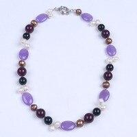 Bianco e grigio collana di perle d'acqua dolce con viola gagte trasparente di cristallo donne choker collana gioielli regali di compleanno