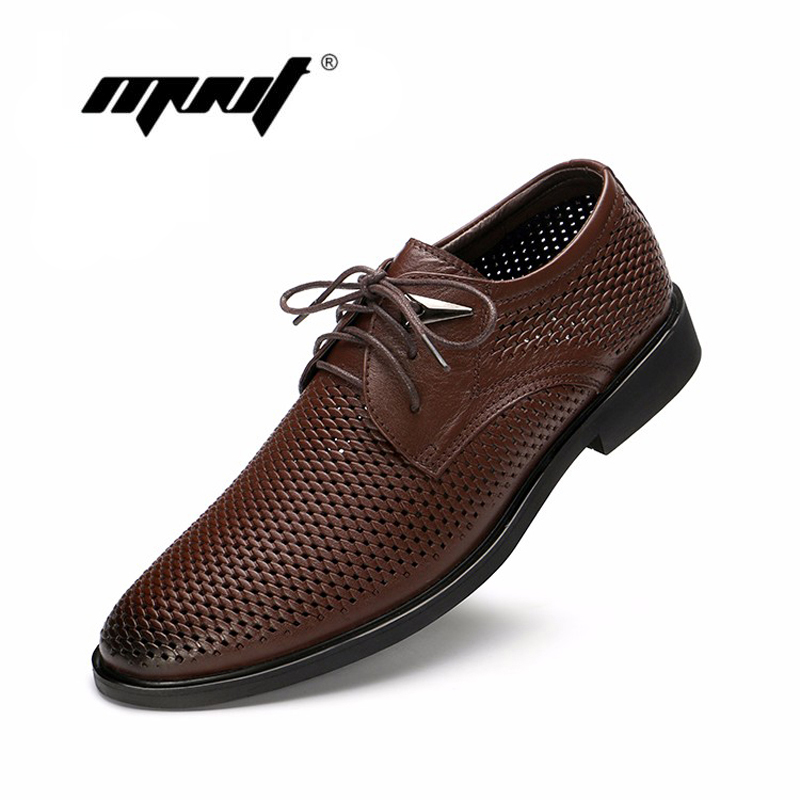 Shoes Natural Leather Oxfords Shoes For Men Summer Dress Shoes Plus Size Business Shoes Mesh Wedding Shoe Men Formal Shoes