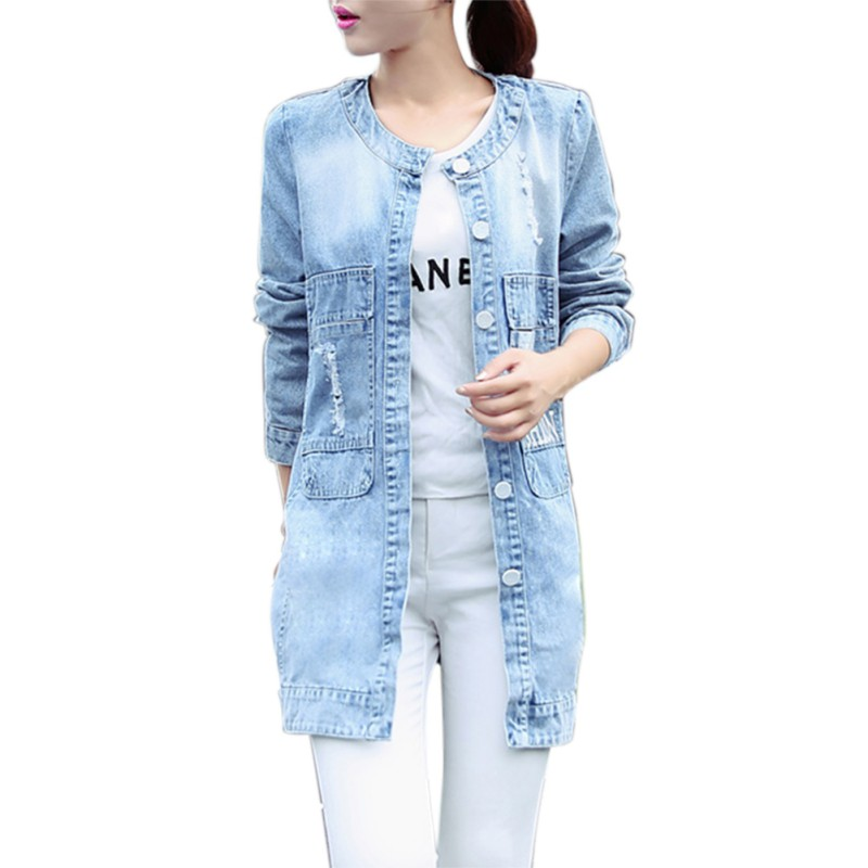 2017 Womens Denim Windbreaker Causal Long Style Feminine Coat Spring/Autumn Slim Button Solid Womens Coat Plus Size D1