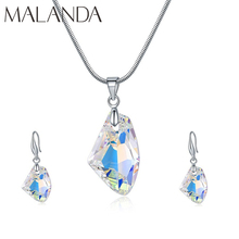 Malanda Fashion Crystals From Swarovski Wish Stone Necklace Drop Earrings Sets For Women Elegant Wedding Party Jewelry Sets Gift