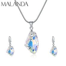 Malanda moda kryształy Swarovskiego chcesz kamień naszyjnik spadek zestawy kolczyków dla kobiet eleganckie wesele zestawy biżuterii prezent