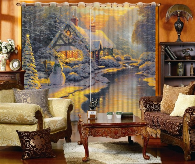 Europe Style Vintage Home Custom 3D Photo Retro Europe Style 3D Curtains  Living Room Curtains For