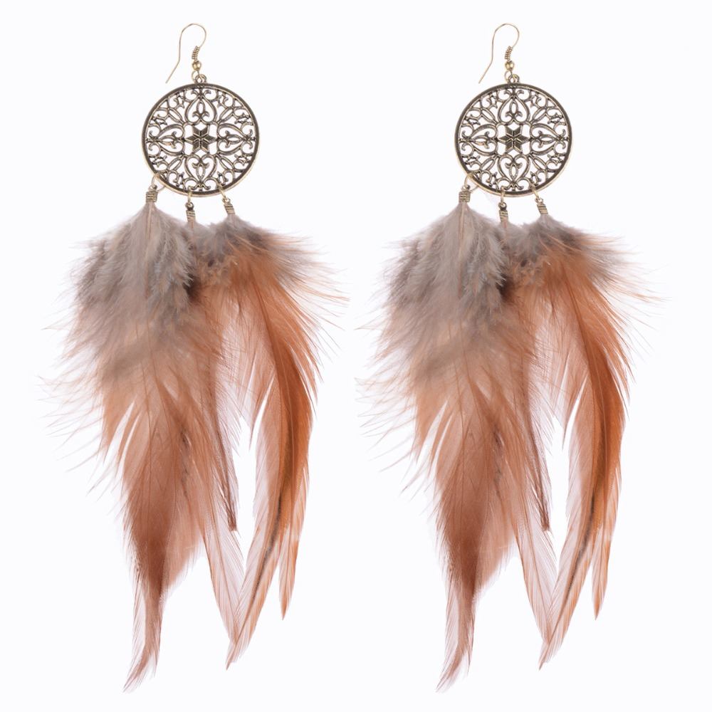 American Native Dreamcatcher Long Feather Round Pendant Long Drop Earrings  Ethnic Earrings For Women Party Birthday
