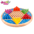 Golden Key Traditional Hexagon Rubber Wooden Chinese Checkers Family Game Set