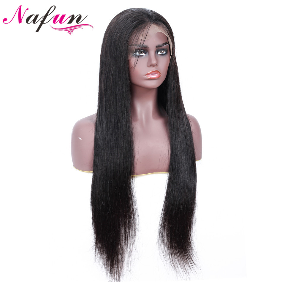 NAFU Straight Weave Full Lace Human Hair Wigs Pre Plucked Brazilian Remy Full Lace Wigs For Black Women Swiss Full Lace Wig